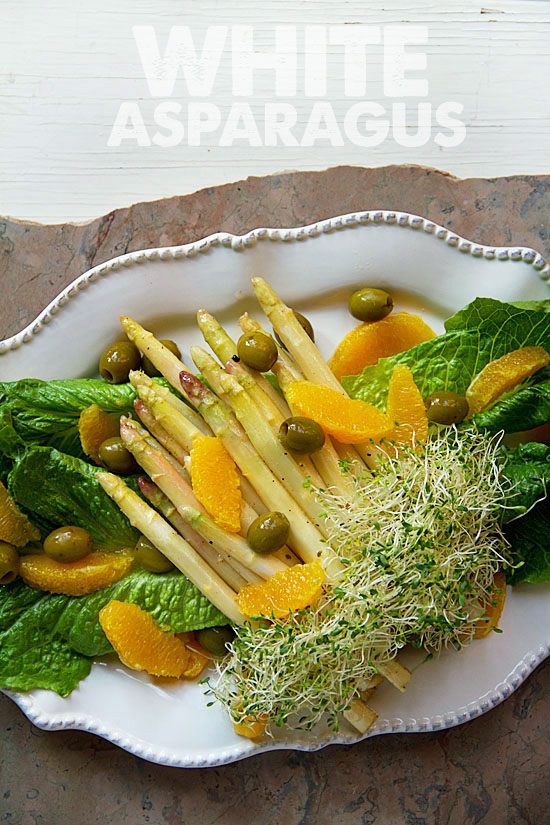 White Asparagus Salad with Tree Ripened Olive and Oranges