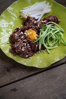Yukhoe (Soy-Marinated Raw Beef)