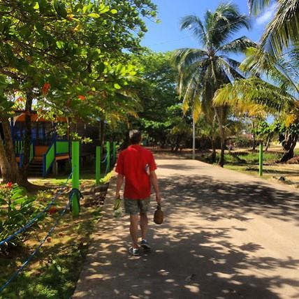 Big Corn Island walking by Arenas Beach Hotel