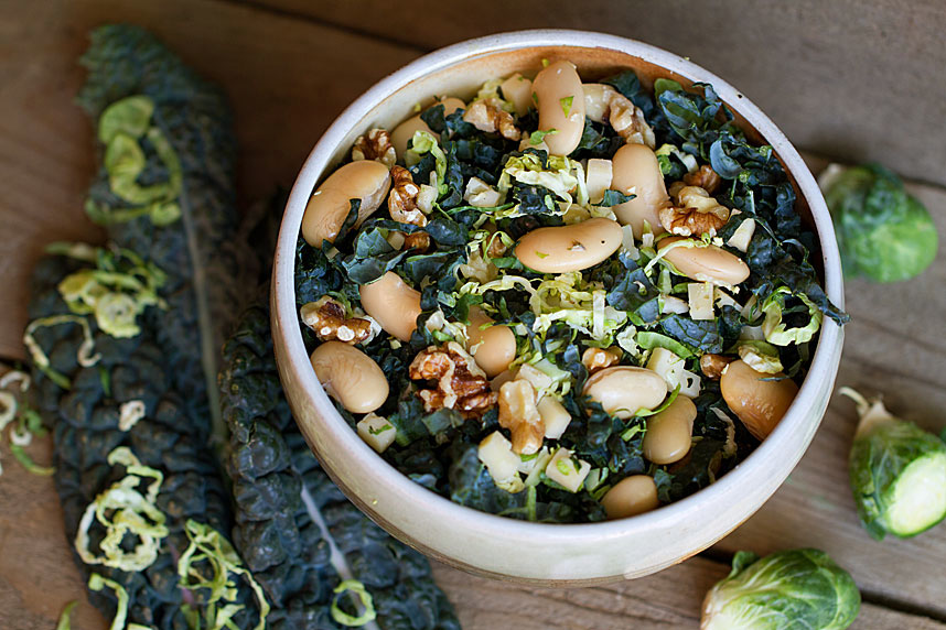 Black Kale, Brussels Sprouts, & White Bean Salad