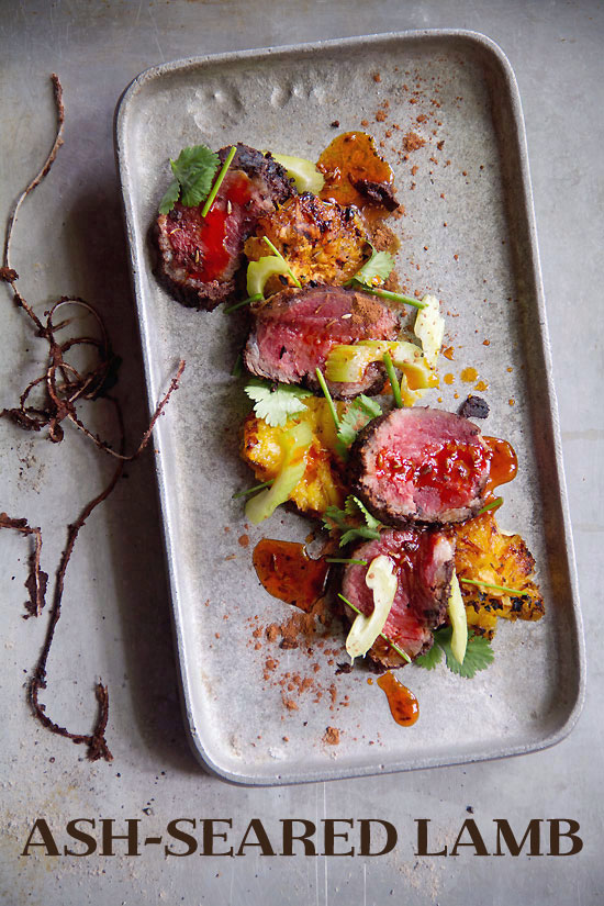 Ash-Seared, Cocoa-Rubbed Lamb Loin with Celery, Cilantro, Charred Orange, and Cumin-Chile Oil