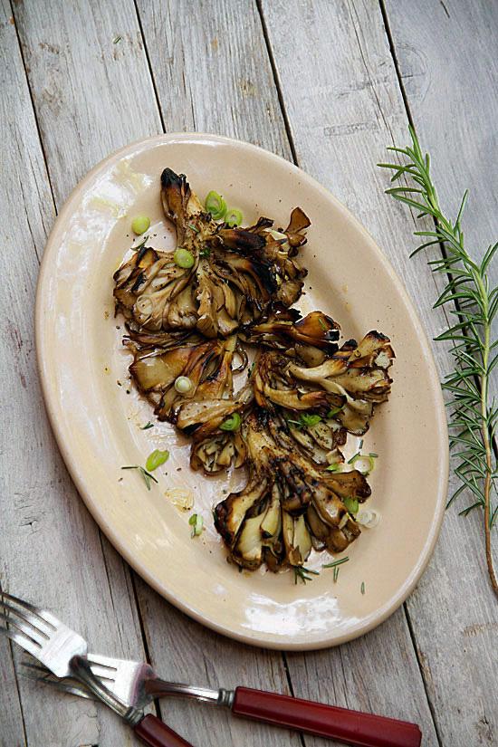 Grilled Maitake Mushrooms with Smoked Sea Salt