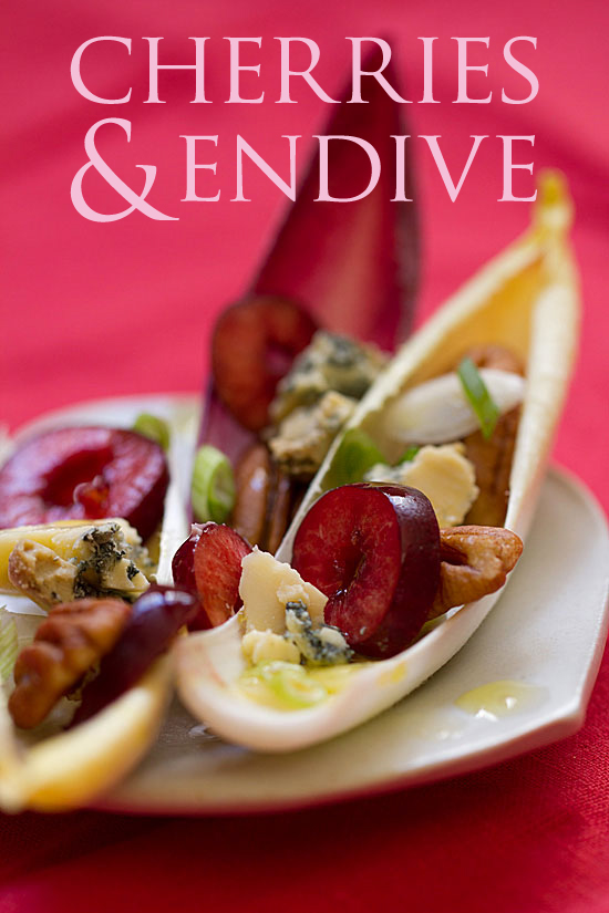 Cherries in Endive Cups with Stilton Cheese and Pecans