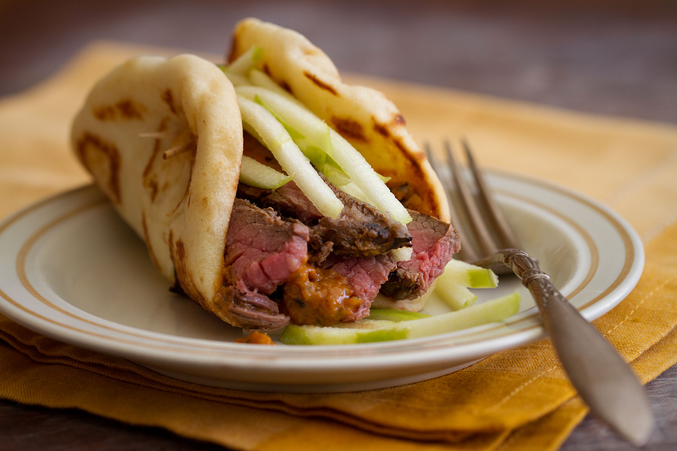 Spicy Flank Steak Naanwich