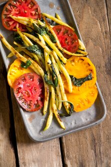 Charred Pole Beans with Heirloom Tomatoes and Basil