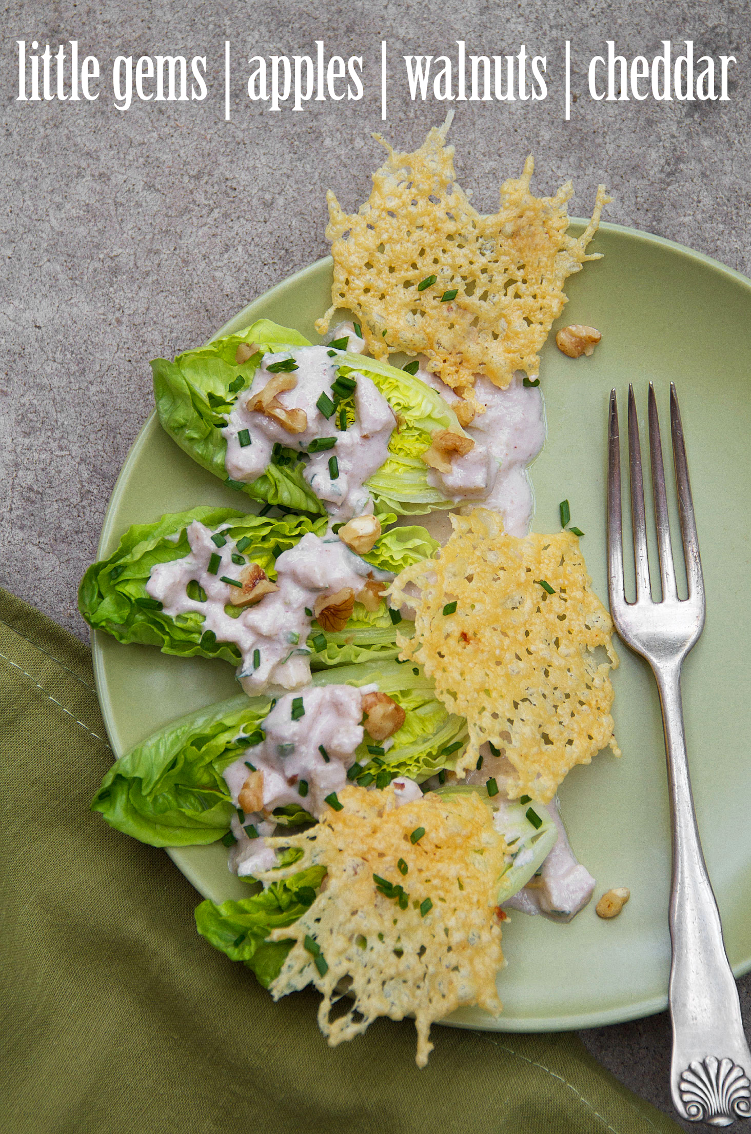 ... Gem Salad with Creamy Walnut-Apple Dressing and White Cheddar Crisps