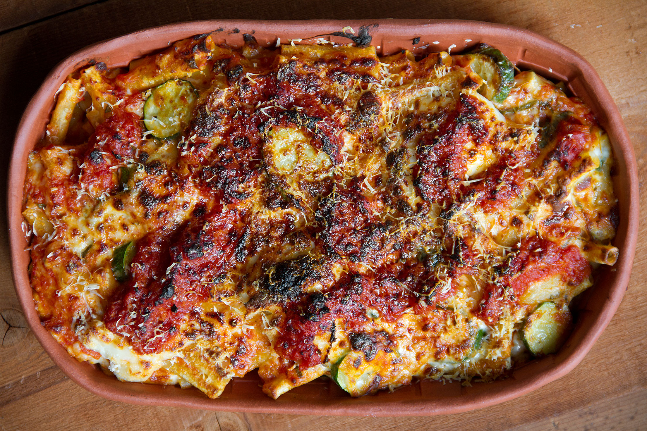 Baked Ziti with Zucchini, Pancetta, and Bechamel
