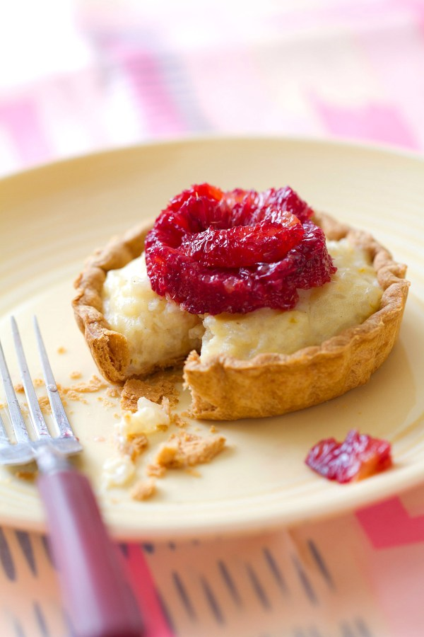 Cardamom Rice Pudding Tarts with Blood Oranges