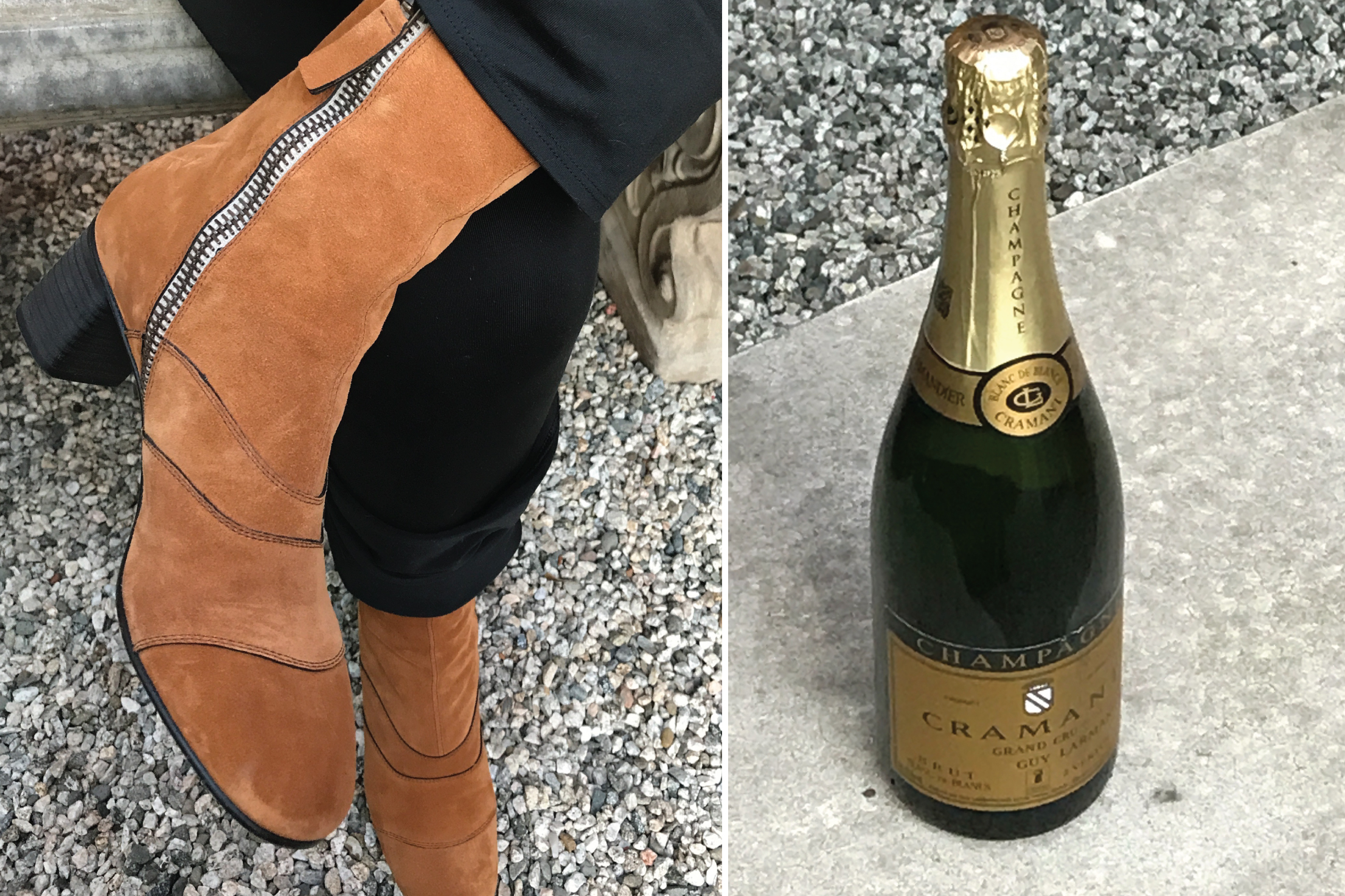 Chloe Boots and Guy Larmandier Cramant Champagne! Life is good!