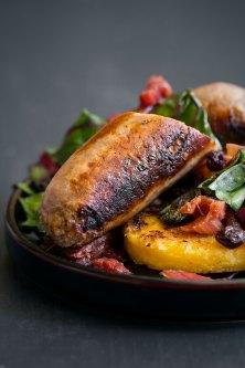 Seared Sausage and Rhubarb with Swiss Chard