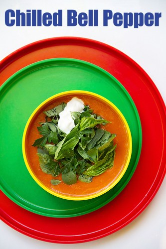 Herb-Topped Chilled Red Bell Pepper Soup