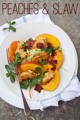 BBQ Chicken with Peach, Purslane and Broccoli Slaw