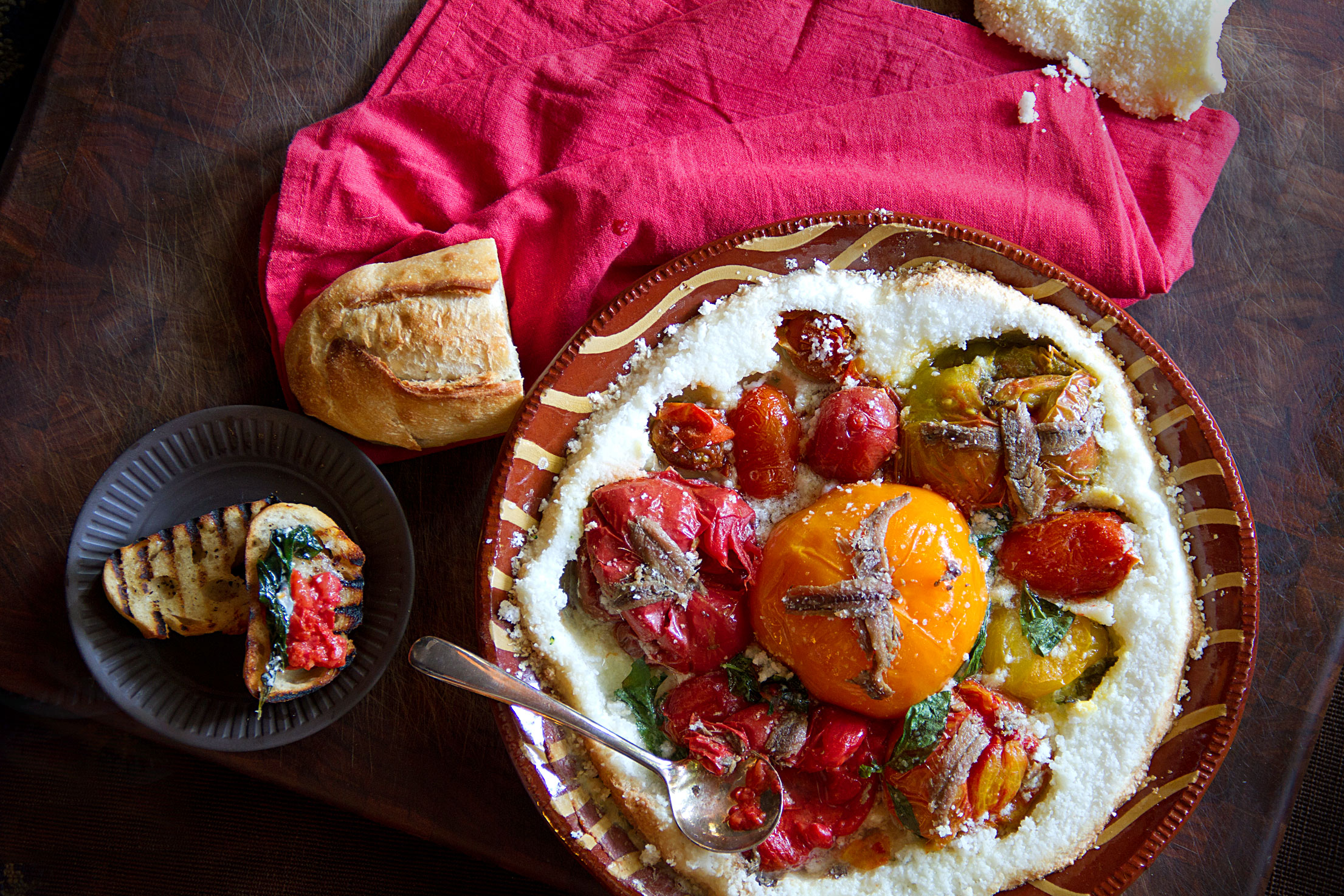 Salt-Crusted Tomatoes and Anchovies