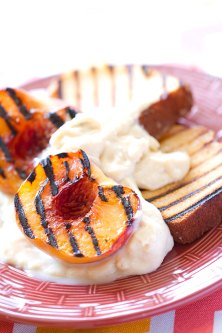 Grilled Pound Cake and Peaches with Maple-Corn Panna