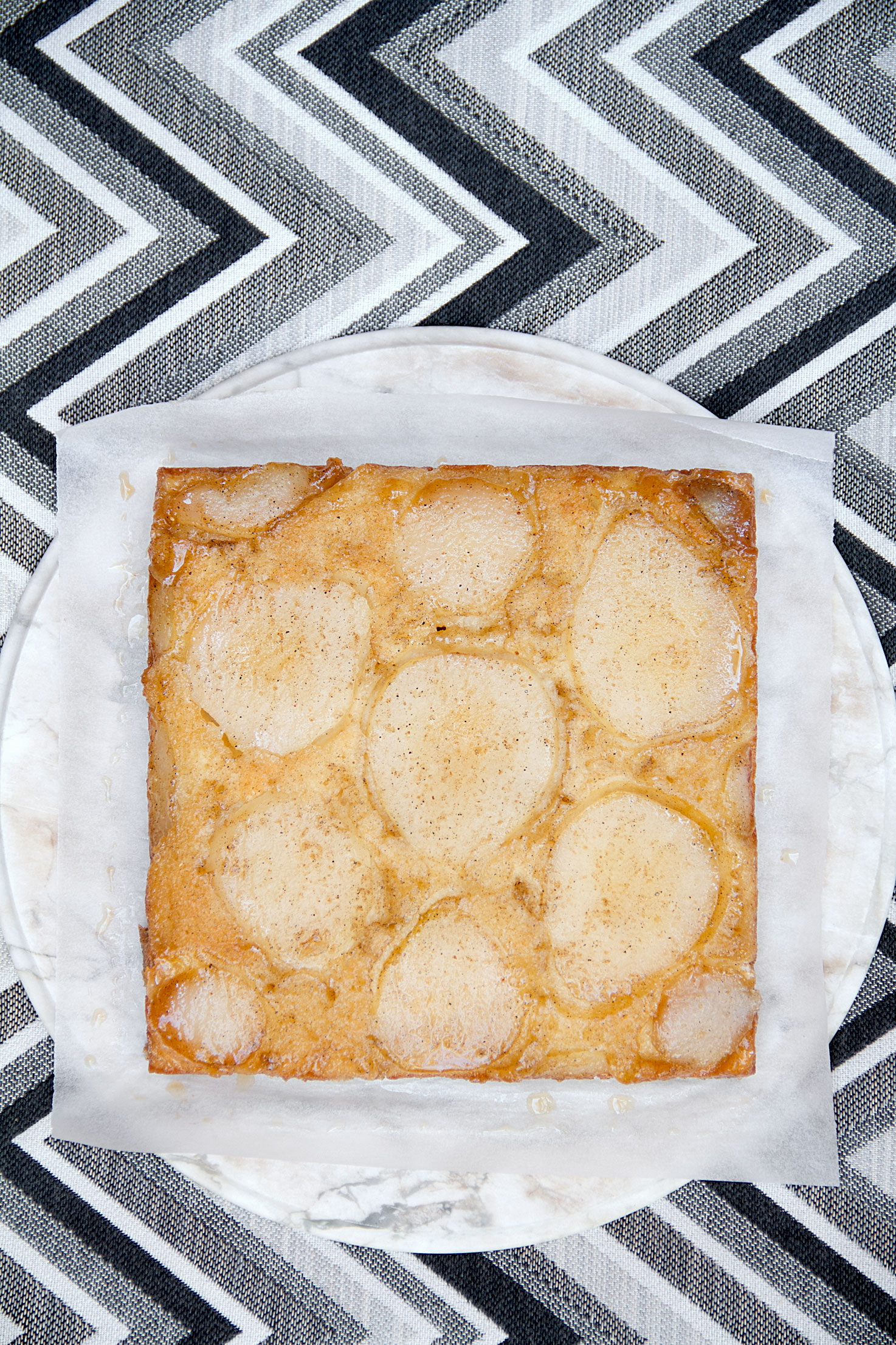 Maple-Cardamom Pear Upside Down Cake