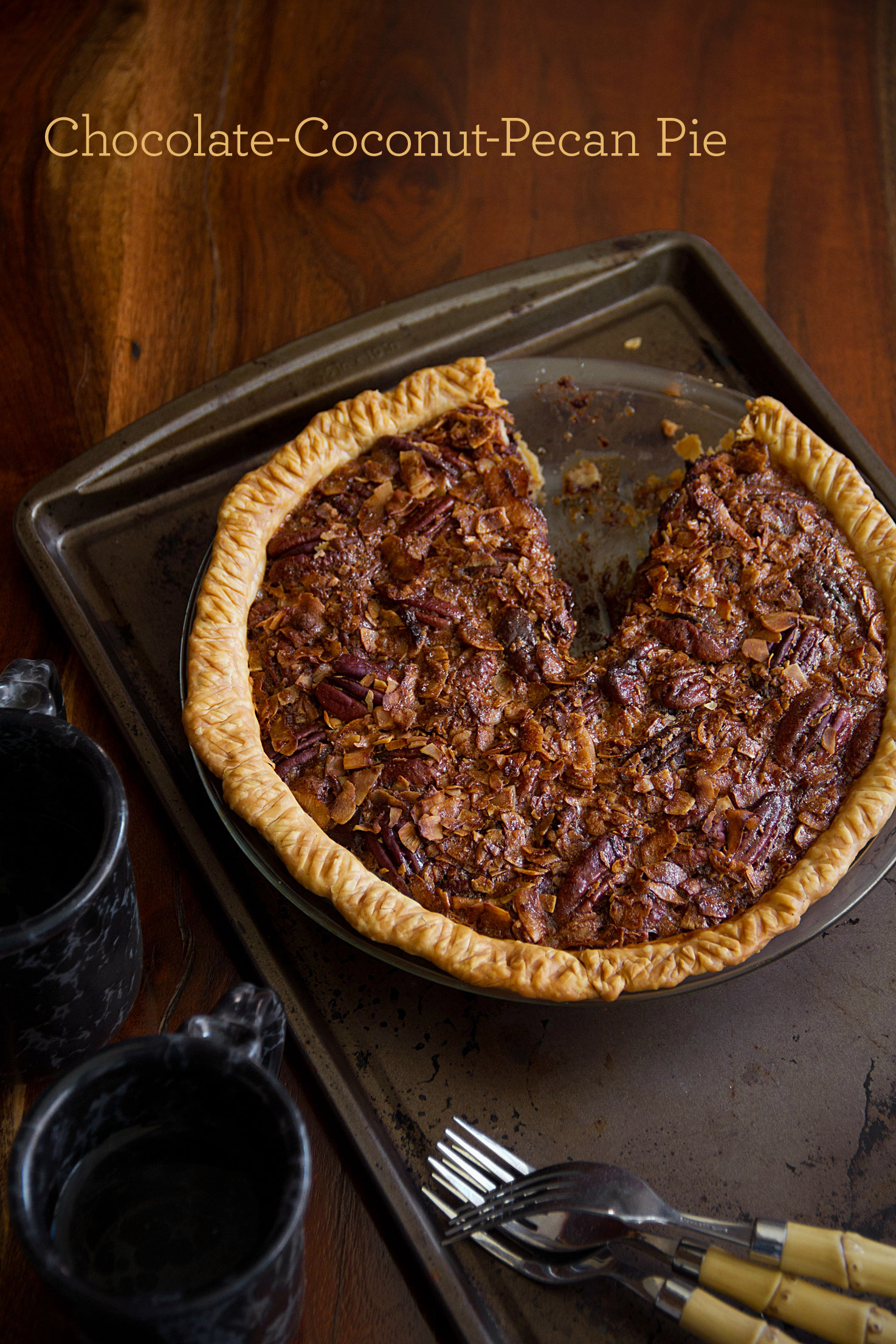 Chocolate Pecan Coconut Pie