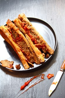 Pan Grilled Meatloaf Sandwich with Cheddar, Bacon, and Curry-Tomato Relish