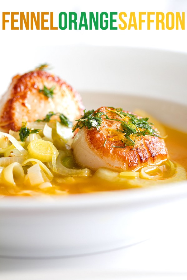 Seared Scallops with Sautéed Fennel in Saffron Broth