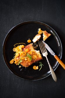 Citrus-Cumin Chicken Cutlets with Kumquat-Pineapple Chutney