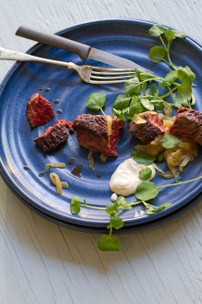 Hangar Steak with Horseradish Cream and Onion Marmalade