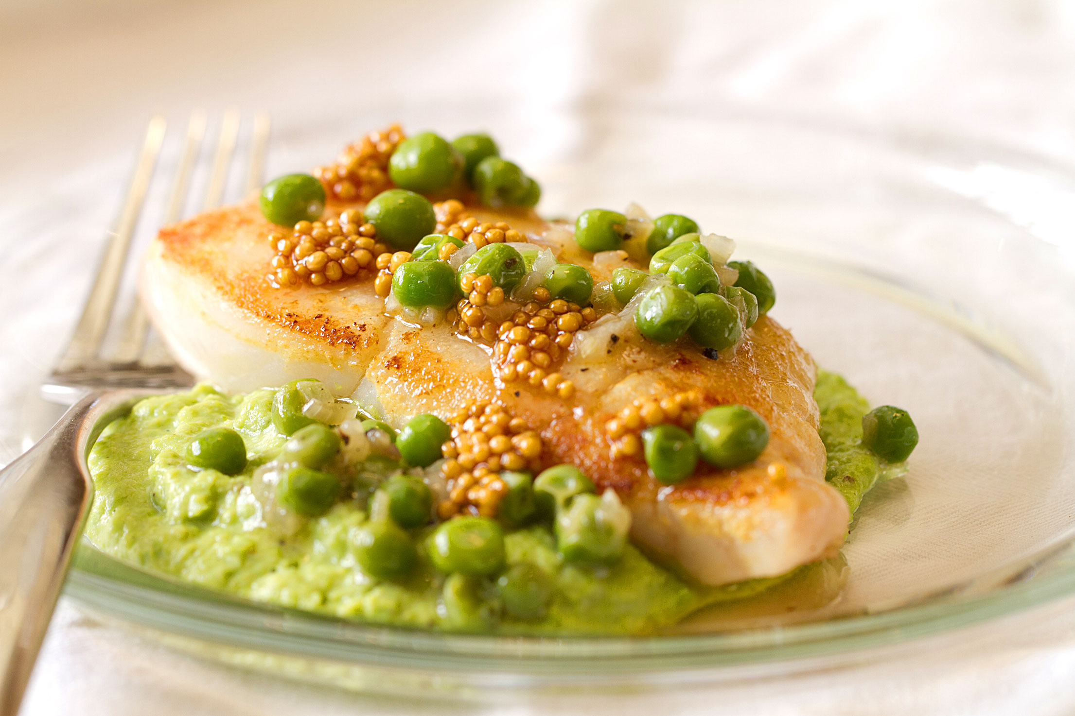 Mustard-Brushed Halibut with Pea Puree and Pickled Mustard Seeds