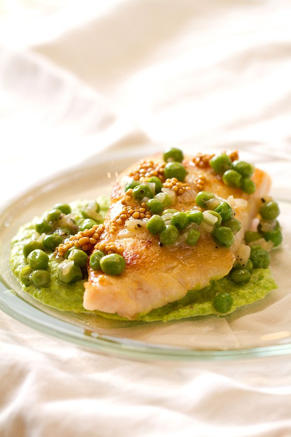 Mustard-Brushed Halibut with Pea Puree
