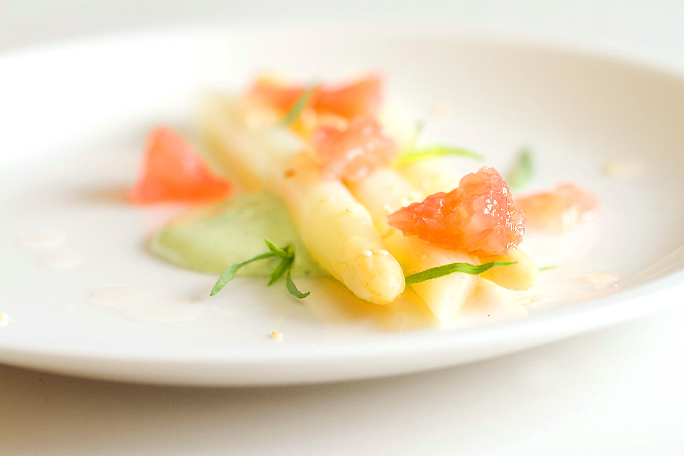 White Asparagus, Red Grapefruit, and Green Goddess