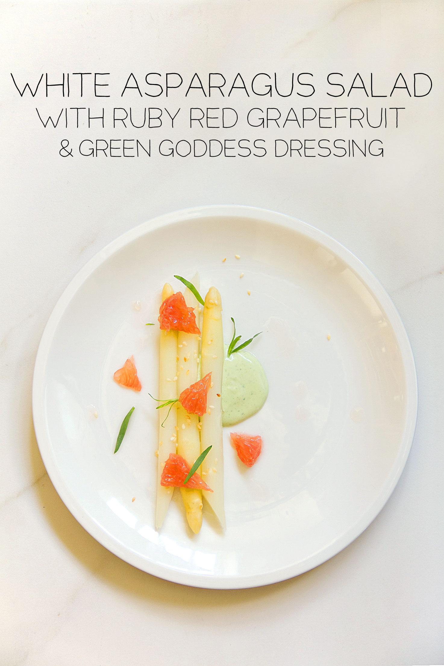 White Asparagus and Red Grapefruit and Green Goddess