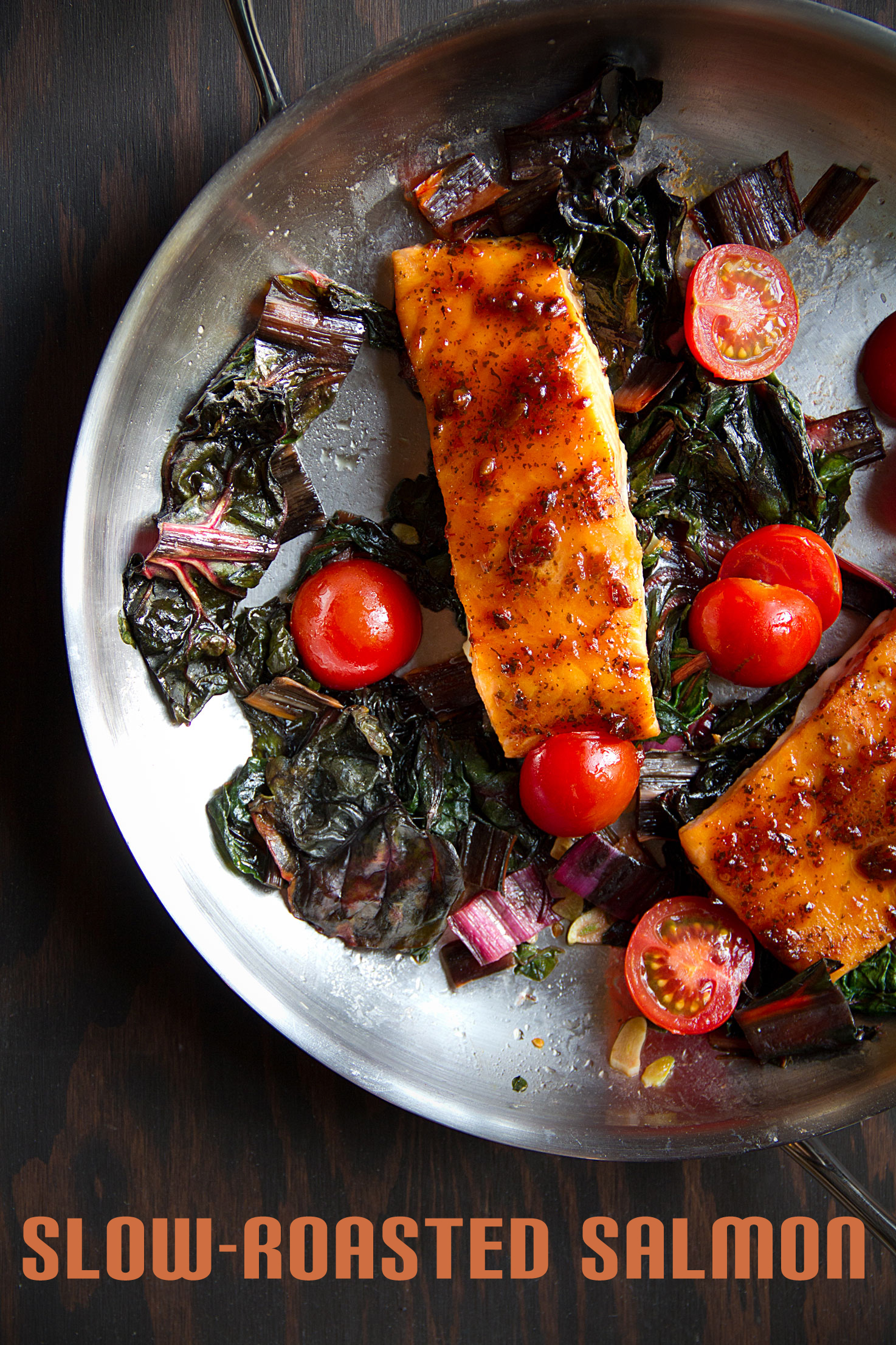 Slow-Roasted Salmon with Thai BBQ Sauce and Swiss Chard