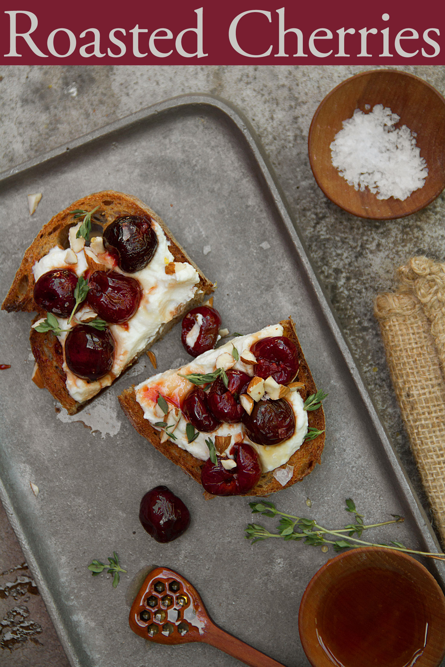 Roasted Cherry Toast with Ricotta Cheese