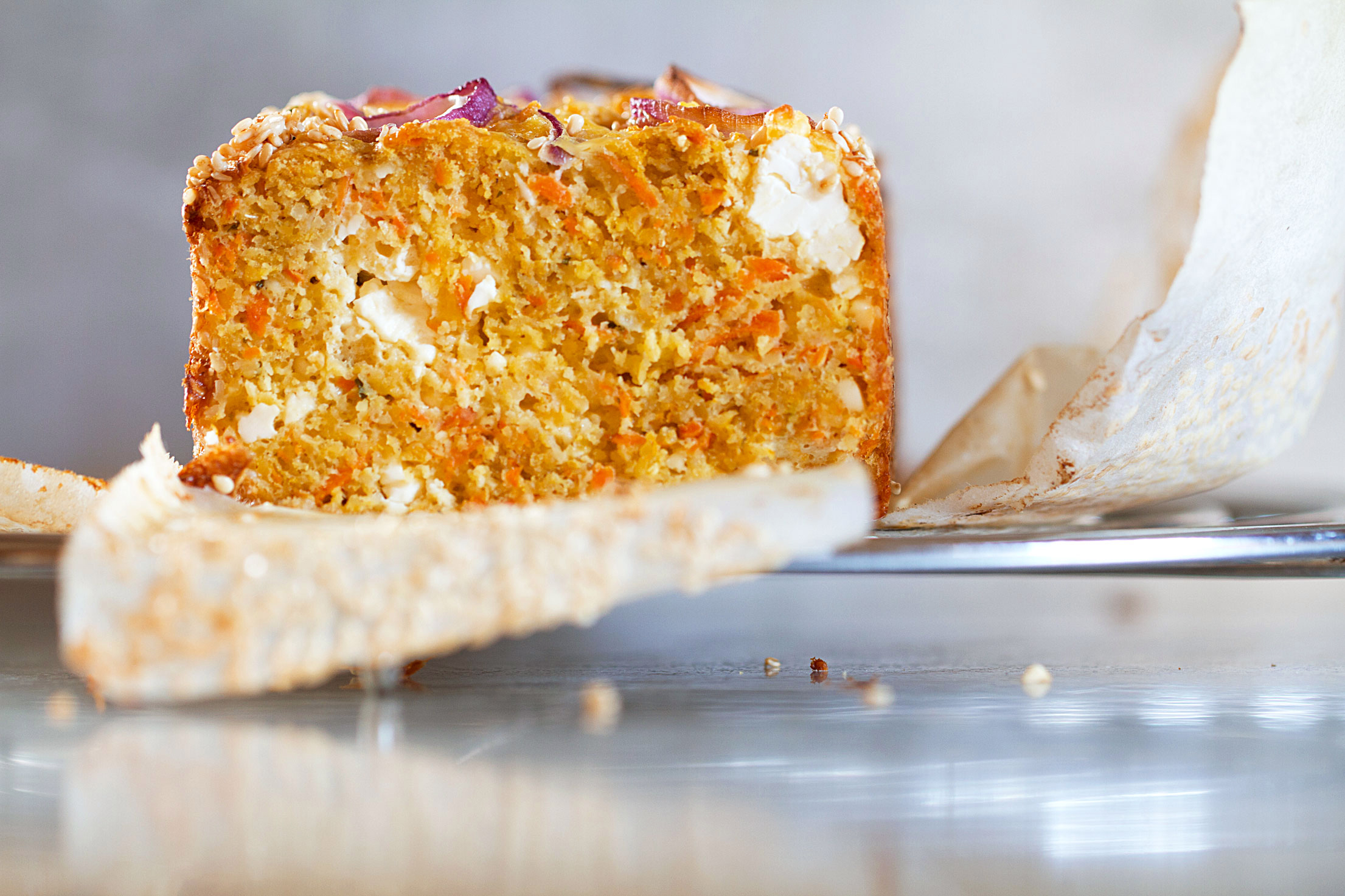 Savory Cake with Carrot, Feta, and Cumin