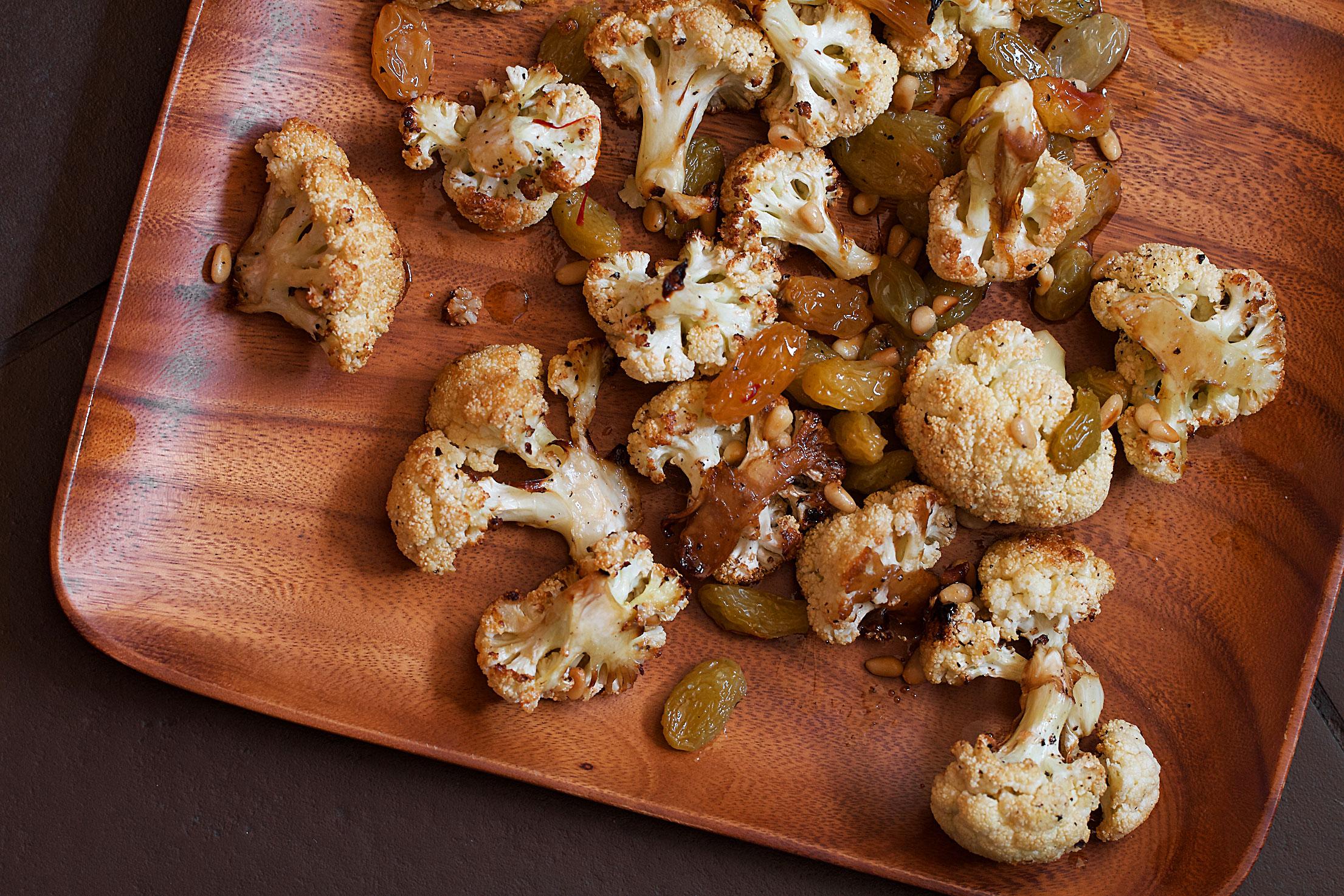 Cauliflower with Saffron-Pickled Raisins