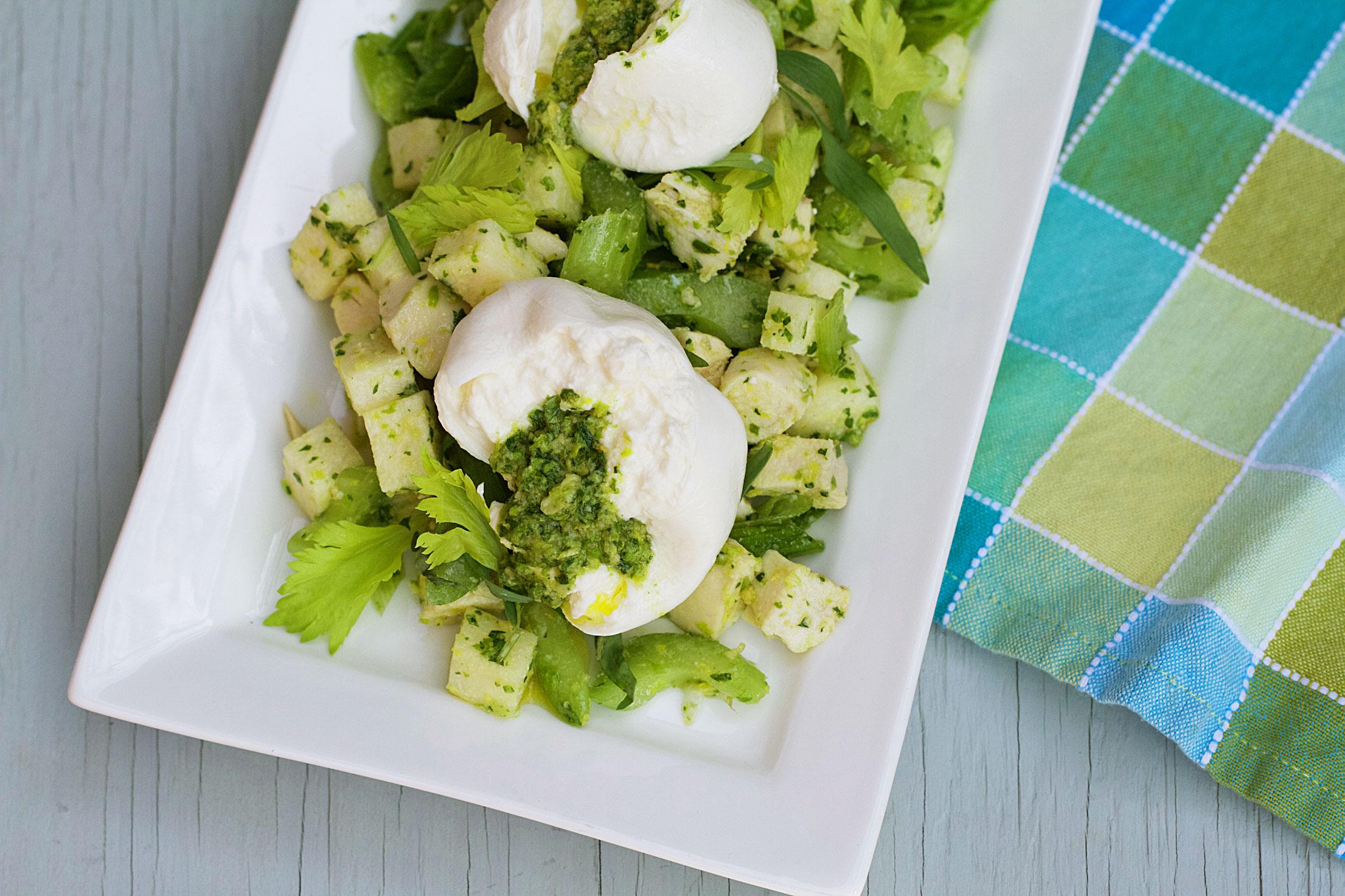 Chicken and Jicama Salad with Celery Leaf Pesto