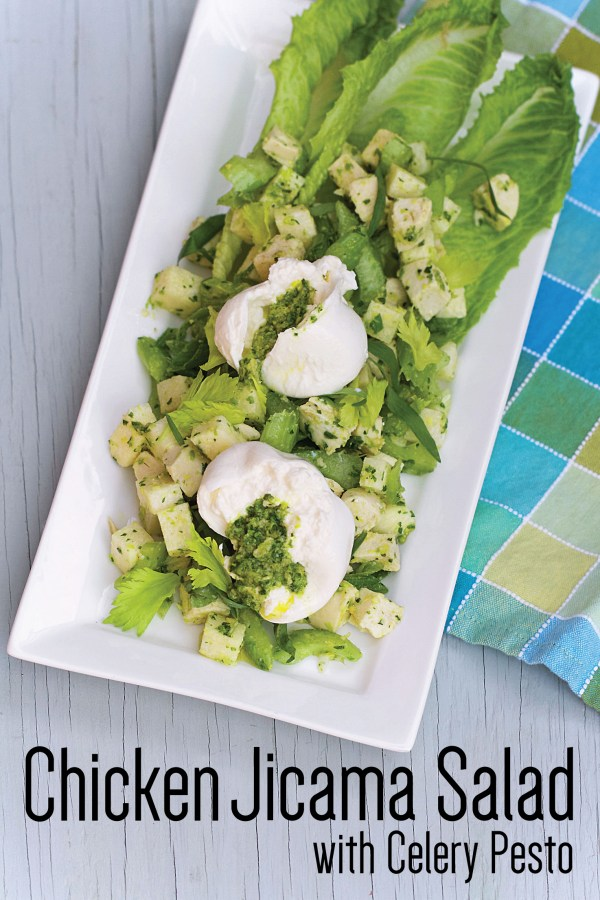 Chicken and Jicama Salad with Celery Leaf Pesto