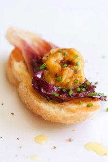 Oil-Poached Chickpeas and Garlic with Radicchio Crostini