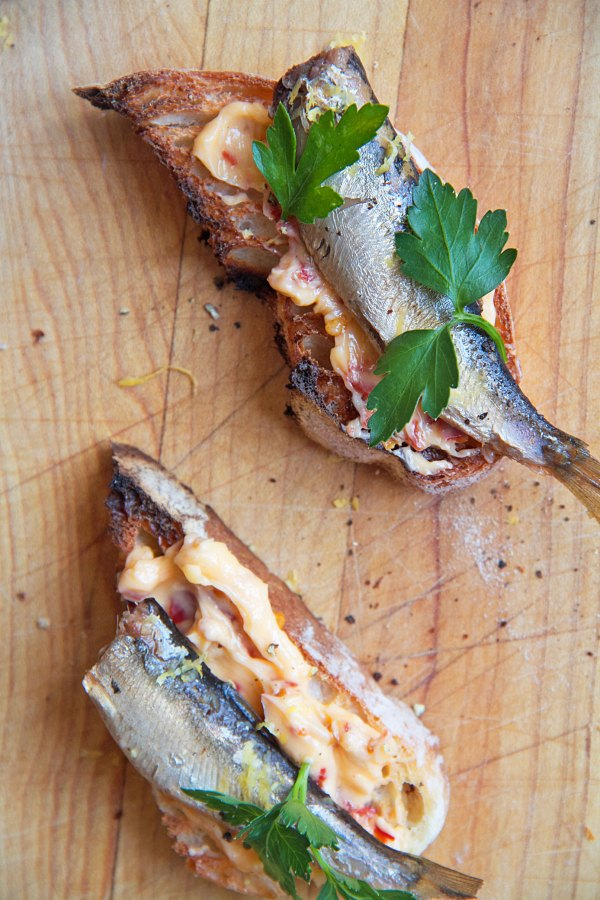 Smoked Sprats on Toast with Chile Butter