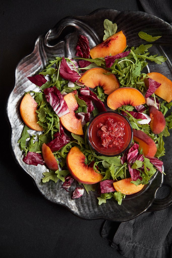 Five-Spice Peach, Raspberry, and Radicchio Salad