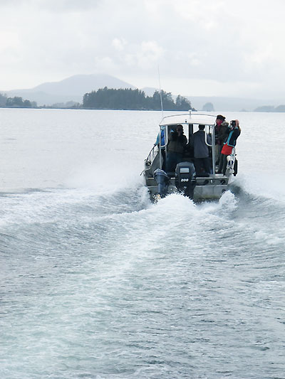 Bloggers on a boat in Alaska