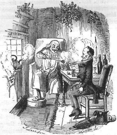 Scrooge and Bob Cratchit share some Smoking Bishop