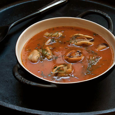 Roast Tomato Soup with Mussels & Fennel