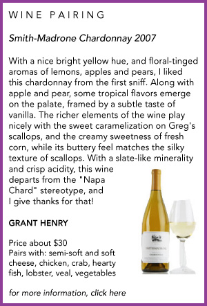 Sippity Sup wine pairing for Smith-Madrone Chardonnay