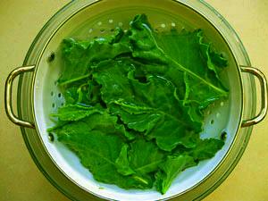 washing beet greens