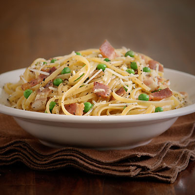 Pasta all Carbonara with Peas