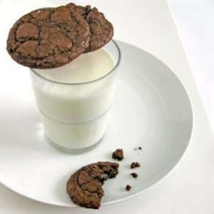 chcolate cherry cookies and milk