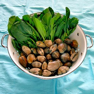 chinese broccoli and clams