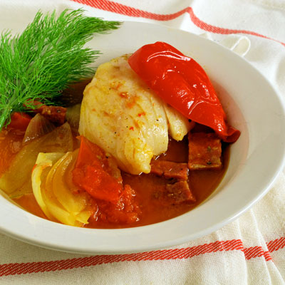 cod stew with pimenton and chorizo from Sippity Sup