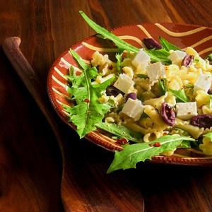 pasta salad with dandelion and feta