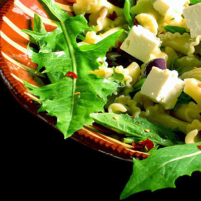 dandelion pasta salad with feta cheese from Sippity Sup