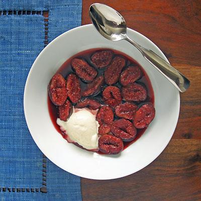 Lambrusco-Poached Figs with Vanilla Bean Ice Cream