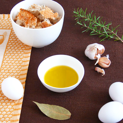 ingredients for garlic rosemary soup